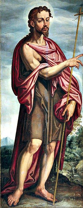 Jesús habría iniciado su actividad pública al ser bautizado por Juan el Bautista en el Jordán. En la imagen, San Juan Bautista, óleo de Francisco Pacheco (1608). Museo del Prado de Madrid, España. (Public Domain)