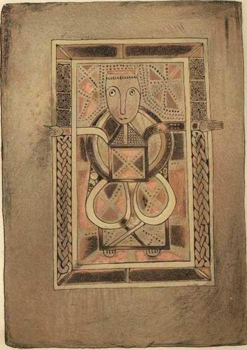 Folio 29 (verso) del Libro de Deer (Biblioteca de la Universidad de Cambridge, MS. II.6.32), retrato de Lucas. (Dominio público)