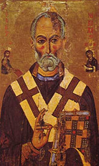 Pintura de San Nicolás, siglo XIII. Monasterio de Santa Catalina del Sinaí (Dominio público)