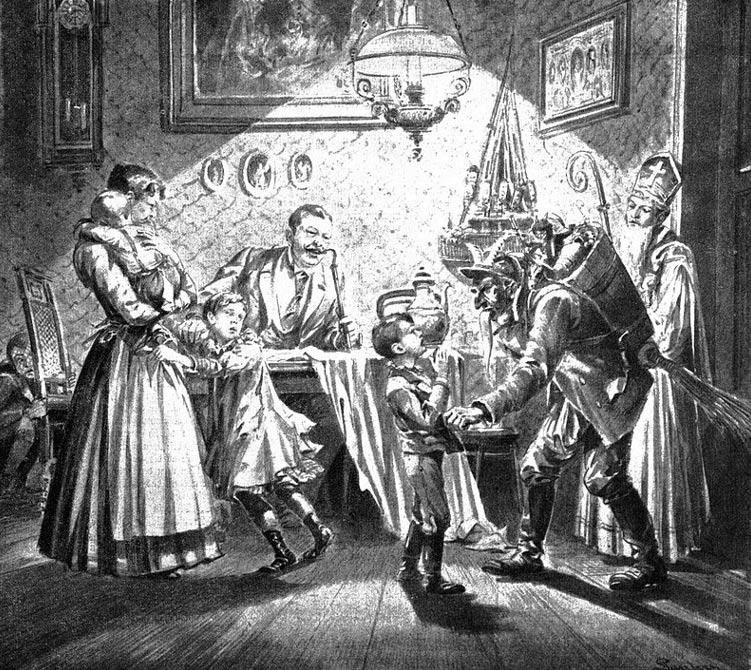San Nicolás y Krampus visitan un hogar vienés (ilustración de 1896). (Public Domain)