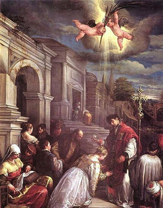 San Valentín bautizando a santa lucilla. Jacopo Bassano (Jacopo da Ponte) (Dominio Público)