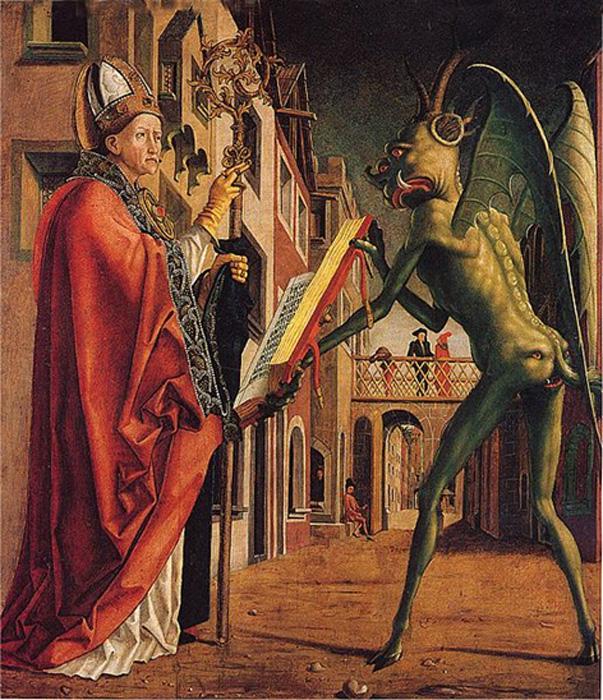'San Wolfgang y el Diablo', óleo sobre panel de Michael Pacher. (Dominio público)