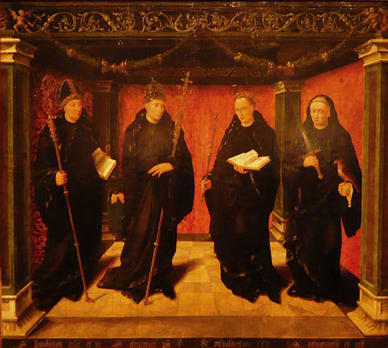 Los santos benedictinos Bonifacio, Gregorio el Grande, Adalberto de Egmond y el sacerdote Jeroen van Noordwijk. (Dominio público)