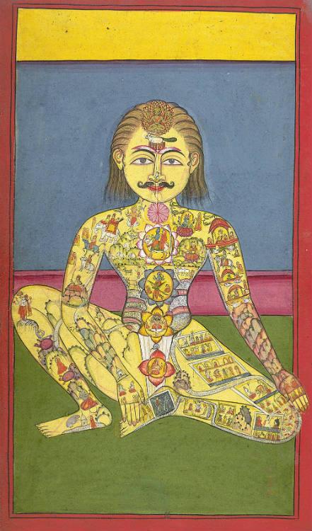 Ilustración de un manuscrito indio sobre Yoga de 1899 en lengua Braj Bhasa en la que se pueden observar los siete chakras (Public Domain)