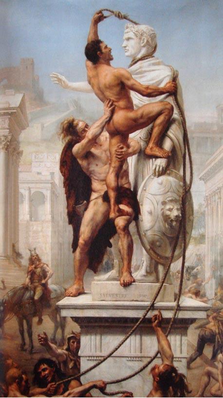 Los Visigodos Saquean Roma el 24 de Agosto del 410, óleo de J.-N. Sylvestre, 1890 (Public domain)