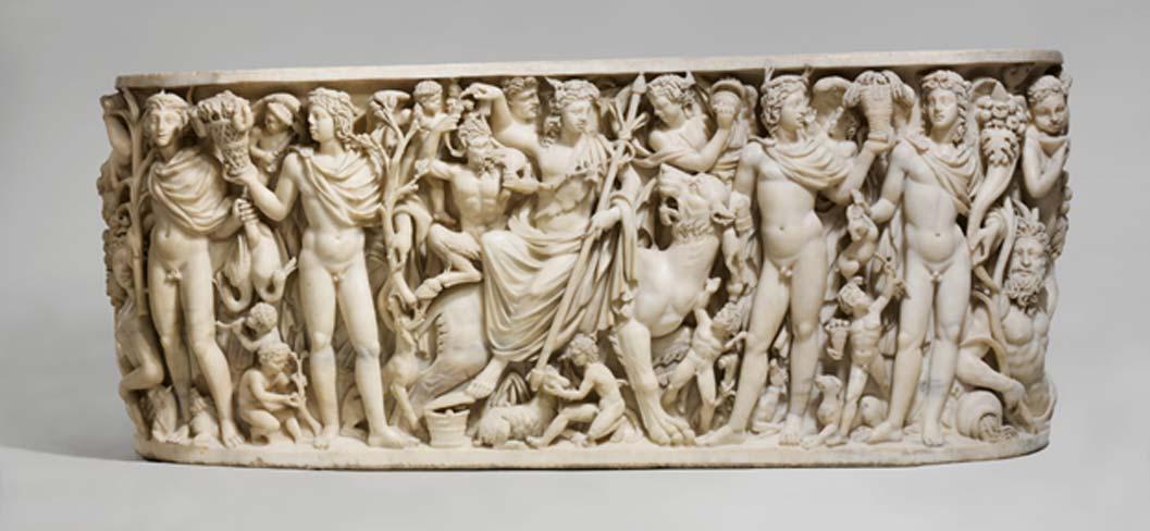Ejemplo de sarcófago romano de mármol con una escena del 'Triunfo de Dionisos y las Estaciones.' (Museo Metropolitano de Arte de Nueva York)