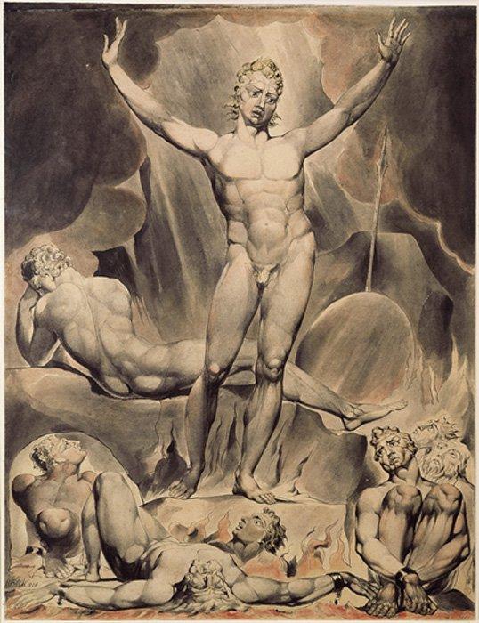 Ilustración de Satán realizada por William Blake para el libro 'Paraíso Perdido' de John Milton. (Dominio público)