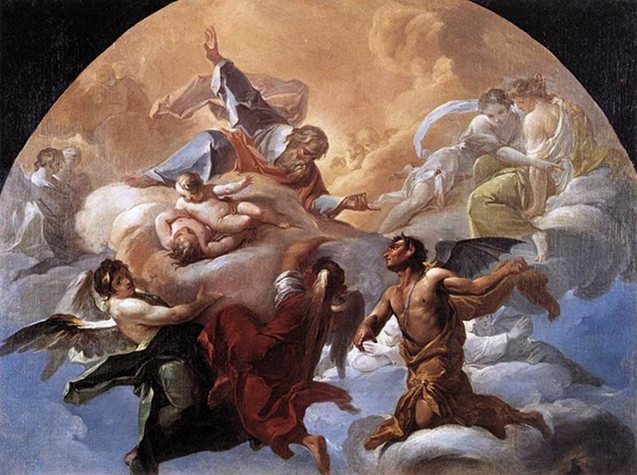 'Satán ante el Señor' (ca. 1750), óleo de Corrado Giaquinto. (Dominio público)