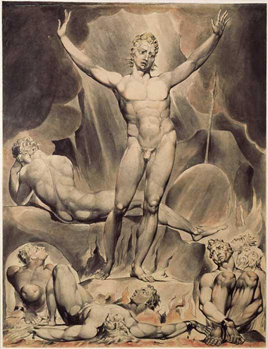 """Ilustración de William Blake cuya figura central es Satanás, tal y como es descrito en la obra """"Paraíso Perdido"""" de John Milton. (Dominio público)"""