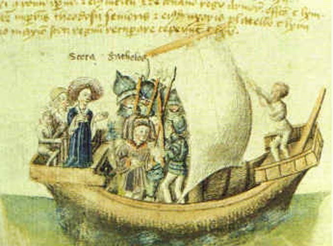 Ilustración de Scota en un barco, principios del siglo XV. (Public Domain)