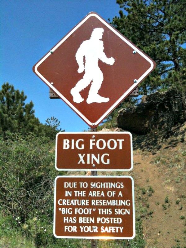Existen numerosos informes que describen encuentros fortuitos con una gran criatura, de aspecto simiesco, que incluso camina erguida sobre sus dos piernas y que presenta otra serie de características humanas. En América del Norte se la conoce como Bigfoot. En China, se la denomina Yeren ('Hombre Salvaje'). En la imagen, señal del Bigfoot visible en la autopista de Pikes Peak. (Gnashes30/CC BY- SA 3.0)