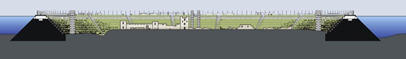 Sección del posible aspecto de Seutópolis en el futuro si finalmente se lleva a cabo el proyecto del arquitecto búlgaro Jeko Tilev. (Proyecto Seutópolis)