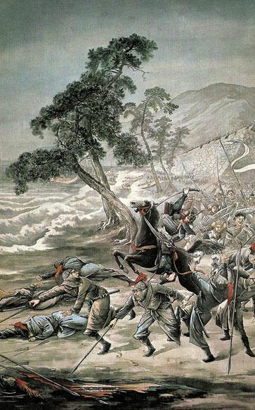 La segunda invasión mongola de Japón - los mongoles que sobrevivieron al tifón fueron masacrados por los guerreros samurai japoneses en la orilla del agua.