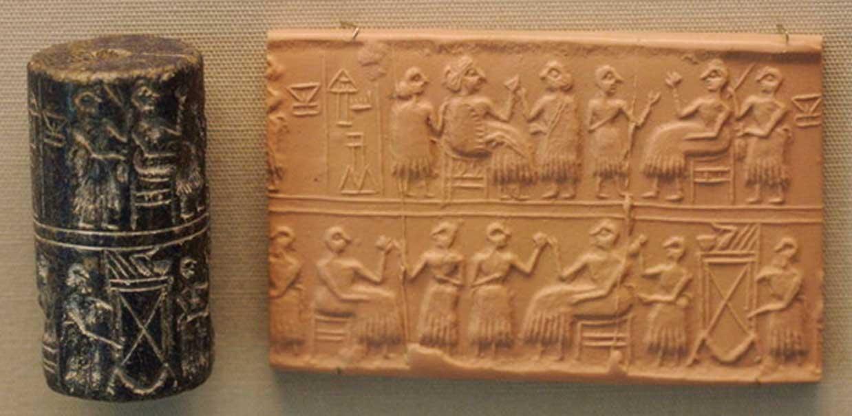 """Sello cilíndrico de la """"Señora"""" o """"Reina"""" (NIN en sumerio) Puabi, c. 2600 a. C. Escena de banquete típica del Período Dinástico Arcaico. (Nic McPhee/CC BY SA 2.0)"""
