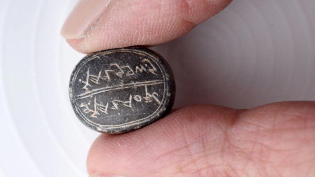 Sello descubierto recientemente en la antigua Ciudad de David, Jerusalén. Fotografía: Clara Amit / Autoridad de Antigüedades de Israel