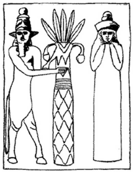 Reproducción de un sello mesopotámico que representa al dios sumerio Enlil y a su esposa, la diosa Ninlil. (Dominio público)