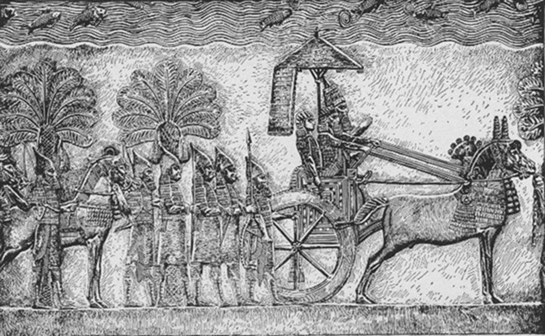 Senaquerib en su carro durante la guerra babilónica, relieve de su palacio en Nínive. (Dominio público)