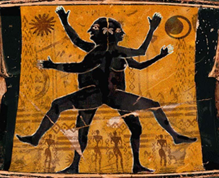 Detalle de un ser humano original con doble cara pintado en una antigua ánfora griega. (La Audacia de Aquiles)