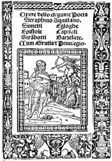 Serafino dell'Aquila canta mientras toca el laúd y Cupido le apunta con su arco, portada de una antología poética del año 1510. Fondation Barbier-Mueller pour l'étude de la Poésie Italienne de la Renaissance. (CC BY SA 4.0)