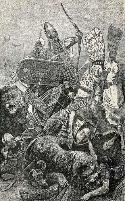El gran Sesostris (Ramsés II) en la batalla de Kadesh (Public Domain)