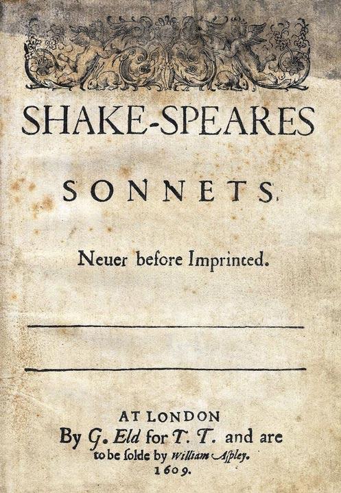 Portada de la edición de 1609 de los Sonetos de Shake-Speares. Public Domain