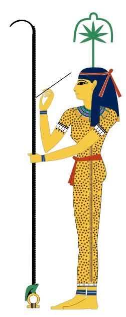 Seshat, la antigua diosa egipcia de las medidas, los registros y los libros. Sobre su cabeza aparece una hoja de cáñamo junto con la flor. (Wikimedia Commons)