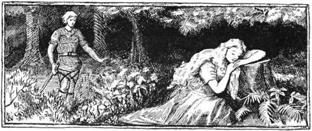 Sif duerme mientras Loki acecha tras ella, ilustración de 1894 obra de A. Chase. (Public Domain)