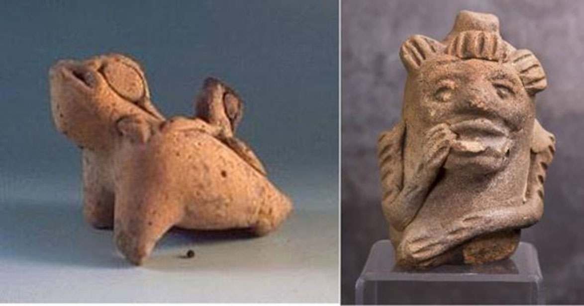 Izquierda: silbato con forma de rana de Yaxchilán (Tlapitzalli.com). Derecha: silbato maya con la efigie de un mono. (William Scott / BigStockPhoto).
