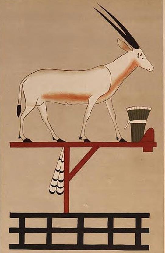 Dibujo del símbolo del nomo del Oryx (decimosexto del Alto Egipto) perteneciente a la tumba del nomarca Khnumhotep II (BH3) ubicada en Beni Hasan. (Dominio público)