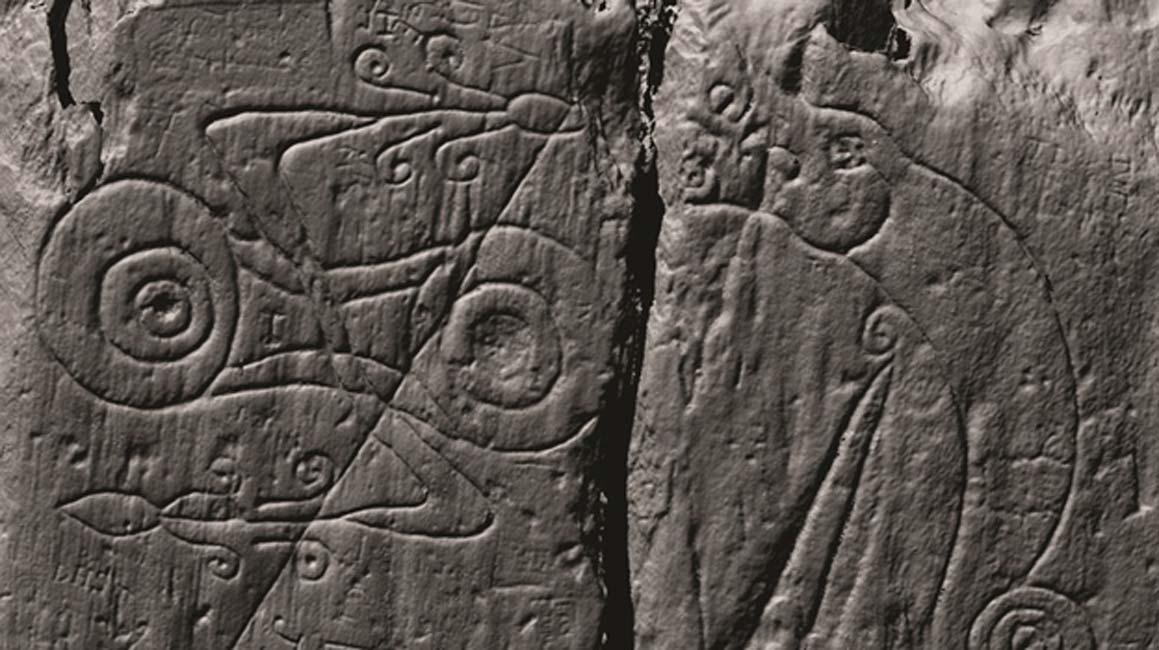 """Uno de los símbolos pictos de las puertas. Al no existir una """"Piedra Rosetta"""" picta, el significado de estos símbolos nos es desconocido. (DGNHAS / CDDV)"""