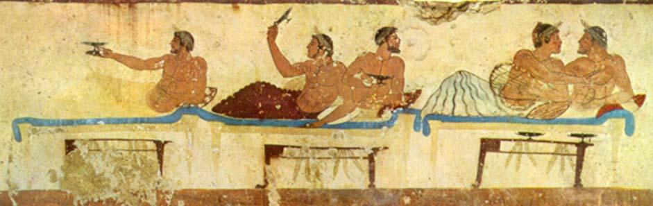 """Antiguo simposio (""""banquete""""), fresco de la Tumba del Nadador. 475 a. C. (Dominio público)"""