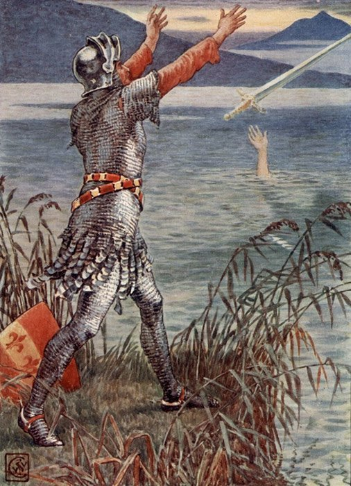Sir Bedivere arroja la espada Excálibur al lago, ilustración del artista inglés del siglo XIX Walter Crane. (Dominio público)