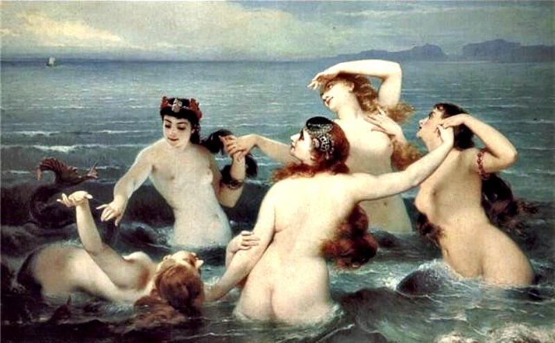 """Sirenas"" (1883), óleo del pintor Charles Edouard Boutibonne. (Public Domain)"