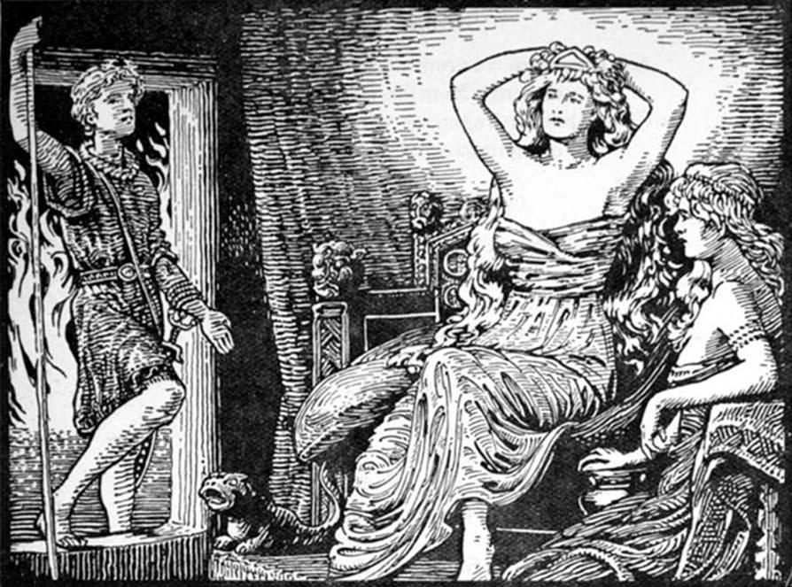 Skirnir comunica a Gerdr el mensaje de Freyr (1908), ilustración de W. G. Collingwood. (Dominio público)