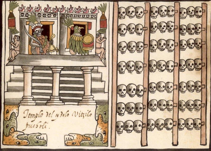 En la cultura Azteca, los cráneos de los individuos sacrificados se exhibían a menudo en hileras dispuestas en una especie de empalizada, recibiendo estos conjuntos de cráneos el nombre de Tzompantli. En la ilustración, Tzompantli del Templo Mayor, tal y como aparece en el Códice Ramírez (Public Domain)