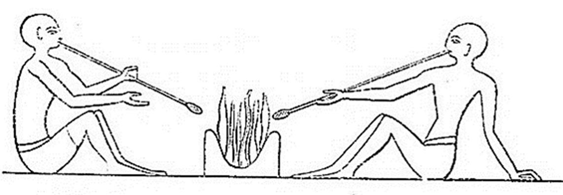 Sopladores de vidrio egipcios de la época de la dinastía XII (hacia el 2200 a. C.) (Public Domain)