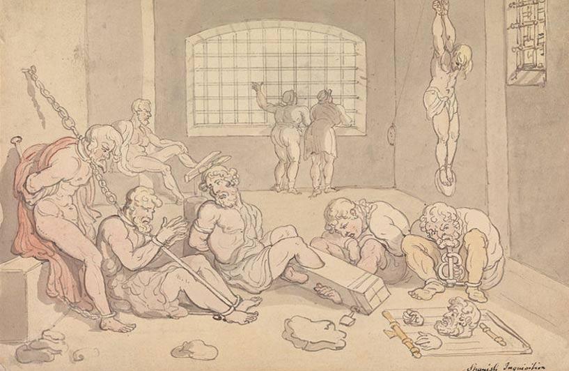 Ilustración de Thomas Rowlandson (acuarela y tinta) en la que aparecen representadas víctimas de la Inquisición española (Wikimedia Commons)