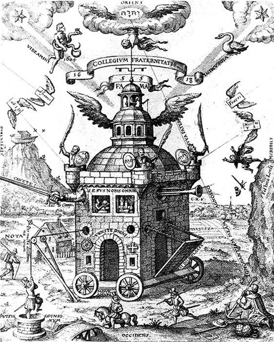 Ilustración del 'Speculum Sophicum Rhodostauroticum' en la que aparece representado el Colegio Invisible. En la esquina superior izquierda brilla la nueva estrella de 1604 junto a Ofiuco, el portador de la serpiente, símbolo de la constelación en la que apareció. (Public Domain)