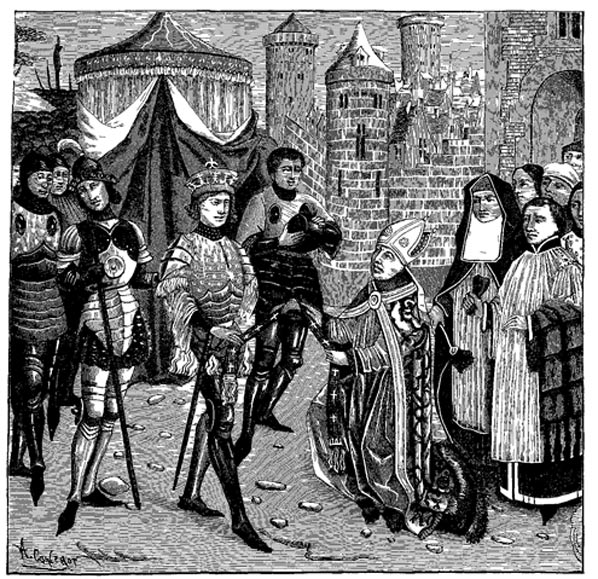 St. Remy, Obispo de Reims, suplicando a Clodoveo la restitución del Vaso Sagrado arrebatado por los francos en el saqueo de Soissons. (Public Domain)