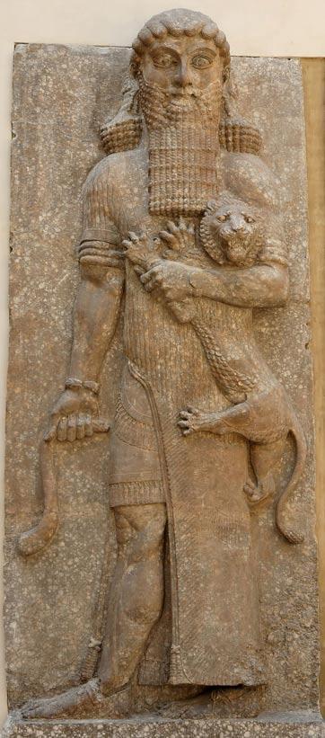 Relieve de Gilgamesh con una posible representación de Enkidu, del palacio de Sargón II en Dur Sharrukin (la actual Khorsabad, cerca de Mosul), 713 a. C. – 706 a. C. (Wikipedia)