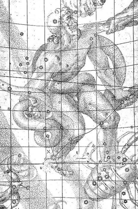 Ilustración del libro de Johannes Kepler 'De Stella Nova in Pede Serpentarii' (Nueva estrella al pie del Serpentario) en la que se indica la localización de la supernova de 1604. (Public Domain)