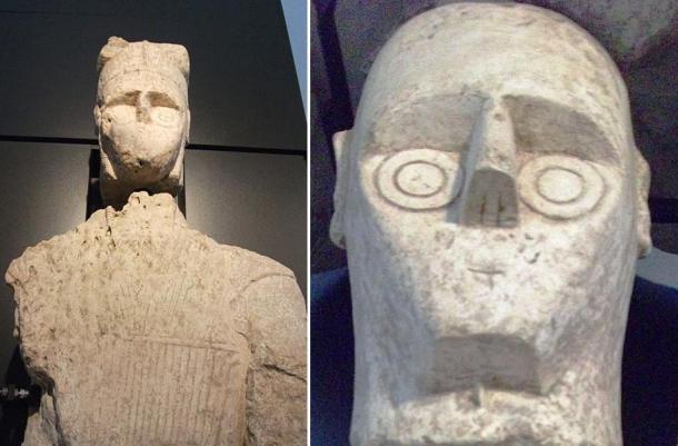 Guerrero de piedra de tamaño natural. A la derecha detalle de su cabeza. Mont'e Prama, Cerdeña (Wikimedia Commons)