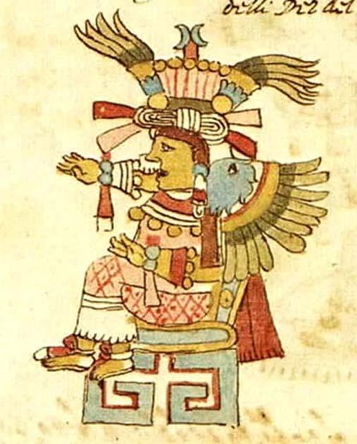 Esta supuesta representación de Xochiquetzal del Códice Ríos sólo tiene plumas. (Dominio público)