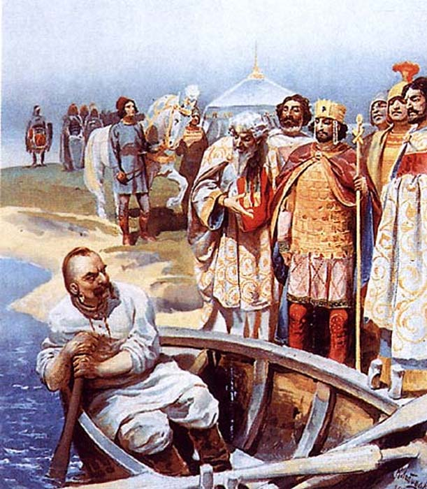 Sviatoslav I de Kiev (en la barca), destructor del Kanato jázaro. (Dominio público)