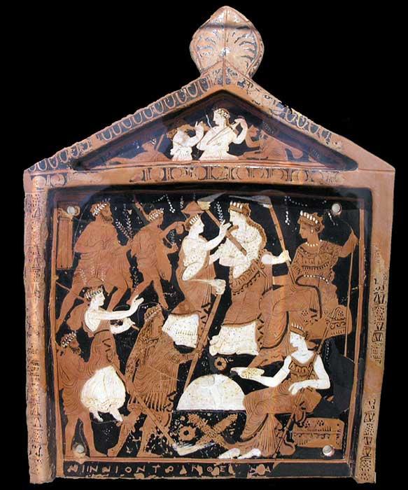 Placa votiva conocida como Tablilla Ninnion en la que aparecen elementos relacionados con los Misterios Eleusinos (CC BY 2.5)