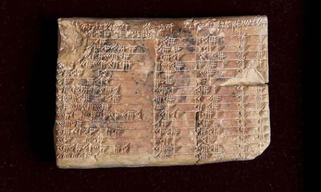 La tablilla babilónica Plimpton 322, con 3.700 años de antigüedad, en la Biblioteca de Libros Raros y Manuscritos de la Universidad de Columbia con sede en Nueva York. (UNSW/Andrew Kelly)