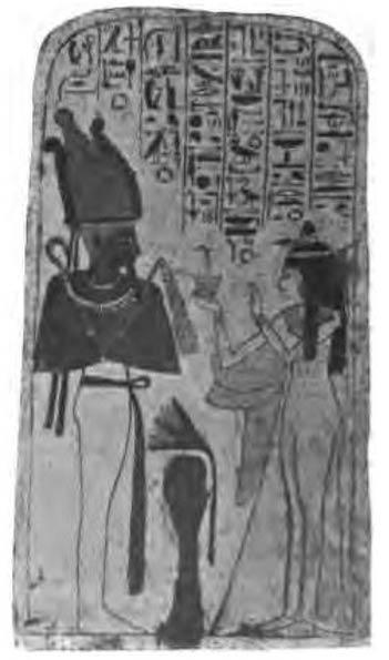Tablilla funeraria en la que se observa a Neskhons junto a Osiris. (Public Domain)