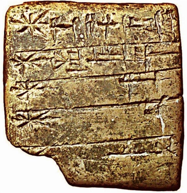 Lista de dioses sumerios en escritura cuneiforme. El nombre de Enlil aparece el primero (empezando por la esquina superior derecha), y aparece representado por el símbolo de un disco solar. (Siglo XXIV a. C.) (Public Domain)