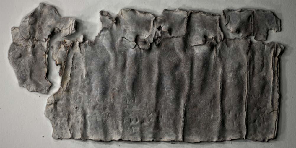 La tablilla de plomo con una maldición hallada en Antioquía. Fuente: Paula Artal-Isbrand, fotografía utilizada con permiso de Alexander Hollmann