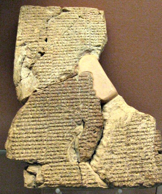Tablilla cuneiforme en la que se narra el Poema de Atrahasis. (Siglo XVII a. C.) Museo Británico de Londres, Inglaterra. (Public Domain)